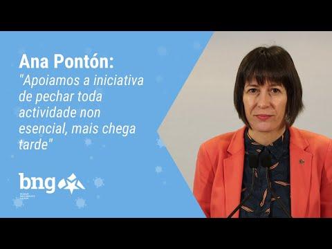 """Ana Pontón """"Apoiamos a iniciativa de pechar toda actividade non esencial, mais chega tarde"""""""
