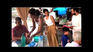 SHILPA SHETTY AN OLD AGE HOME ON HER SONS'S BIRTHDAY WITH RAJ KUNDRA