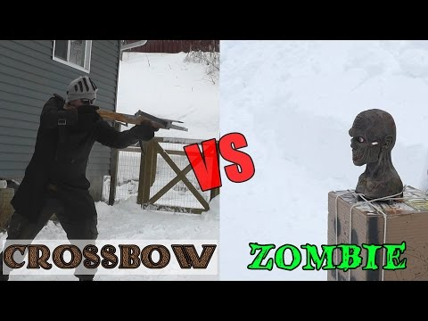 45 lb Scythian bow and medieval crossbow vs. zombie head