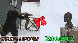 45 lb Scythian bow and medieval crossbow vs. zombie head