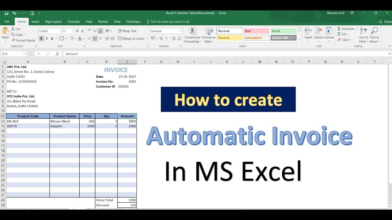 excel tips and tricks how to create automatic invoice in ms excel