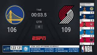 Warriors @ Trail Blazers | NBA on ESPN Live Scoreboard