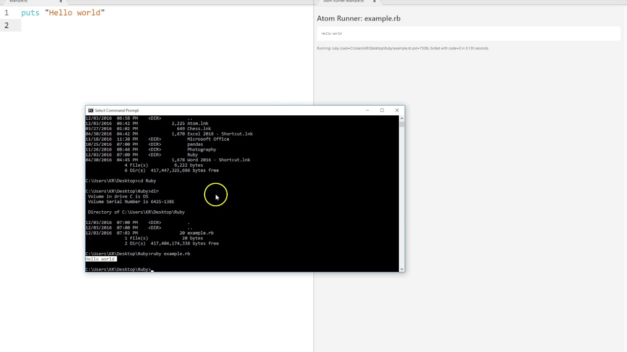 Learn to Code with Ruby - Section 01 - Lesson 10 - Windows : Run Ruby File  from Command Prompt
