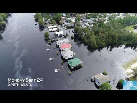 Florence Flooding Before and After at Socastee Swing Bridge Near Myrtle Beach