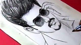 How to Draw Tamil Film Actor VIJAY Drawing for Kids
