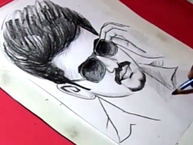How To Draw Tamil Film Actor Vijay Drawing Youtube