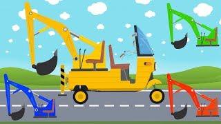 Rickshaw Mini Excavator Tuk Tuk   Learn Colors, sounds and name of Street Vehicles for kids