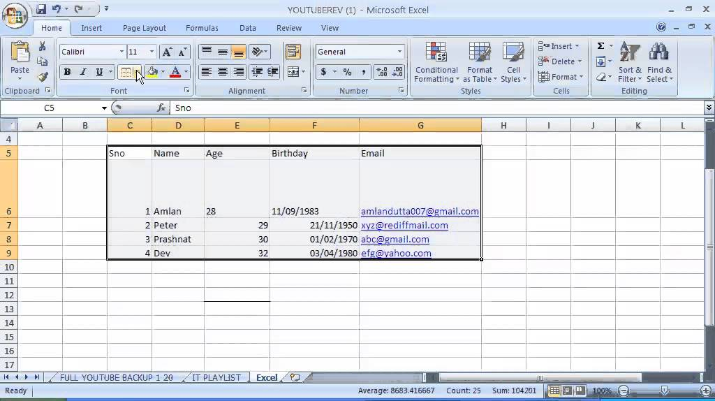 6 Excel How To Apply Borders Inside Excel Youtube