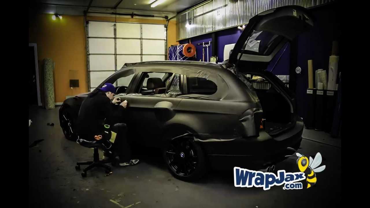 Time Lapse Matte Black Bmw 3 Series Wagon Vehicle Wrap By