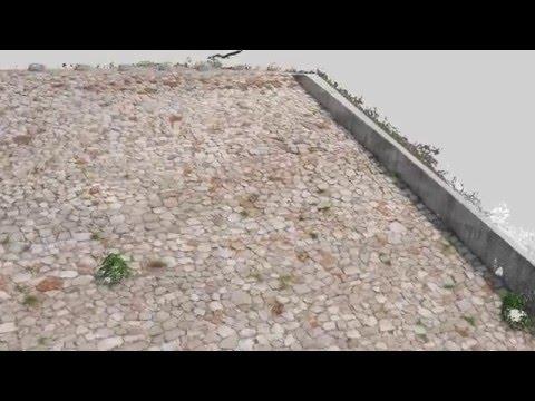 【UAV空撮】殿ダム3D点群動画(斜面上空)