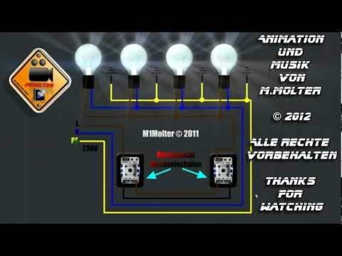 Zwei Lichtschalter Und Vier Lampen Anschliessen Am Schaubild Erklart Von M1molter Youtube