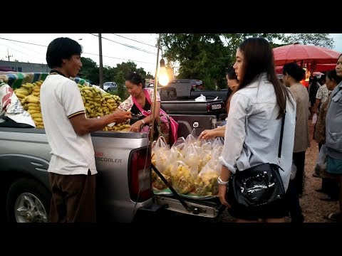 Asian Street Food - Thai laos market in nong yad , laos food
