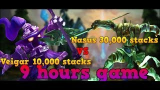 League of Legends - The highest Nasus 30k stack record, Veigar 10k AP, 17k CS, 9 hours long game