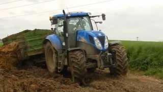 New Holland T6080 Wtopa przy wożeniu obornika