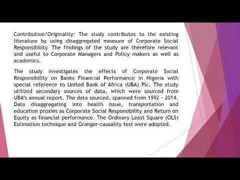 Effects of Corporate Social Responsibility on Banks Financial Performance in Nigeria A Study of Unit