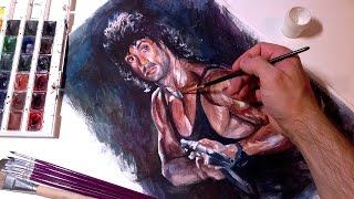 Speed Drawing Sylvester Stallone Time Lapse - Rambo Portrait - Портрет Сильвестр Сталлоне Рэмбо
