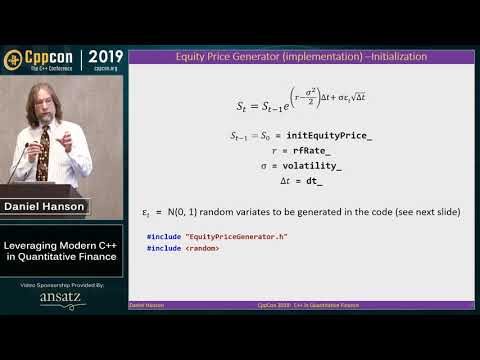 "CppCon 2019: Daniel Hanson ""Leveraging Modern C++ in Quantitative Finance"""