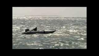 Inflatable catamaran in rough seas