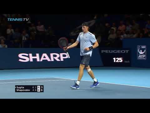 Denis Shapovalov scintillating shots in win vs Yuichi Sugita | Basel 2017