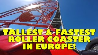 Red Force Roller Coaster Tallest & Fastest in Europe Ferrari Land PortAventura Spain POV