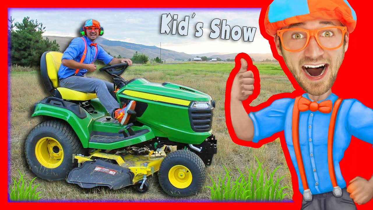 lawn mowers for kids yard work with blippi youtube