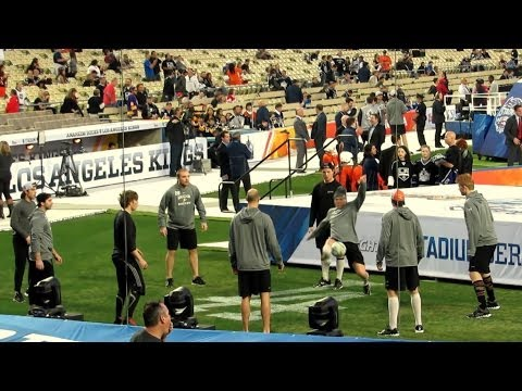 Anaheim Ducks Play Soccer Before Hockey - Dodger Stadium 1-25-2014