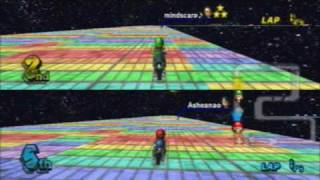 SNES Rainbow Road in Mario Kart Wii! (Custom Track) - Nintendo WFC (8 players)