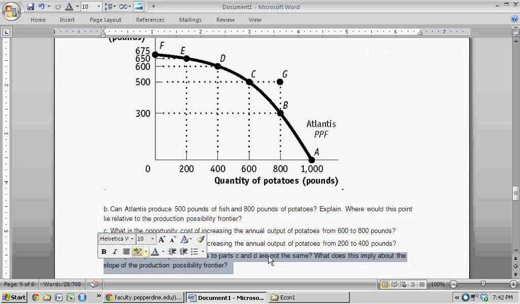 Production Possibilities Curve - Essay Example