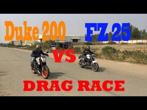 2017 Duke 200 VS Yamaha Fz25 | drag race