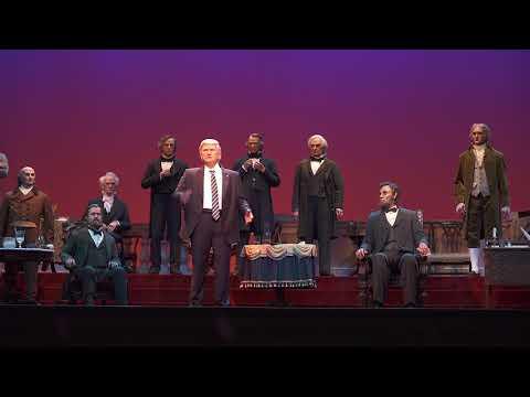 Donald Trump audio-animatronic figure at the new Hall of Presidents