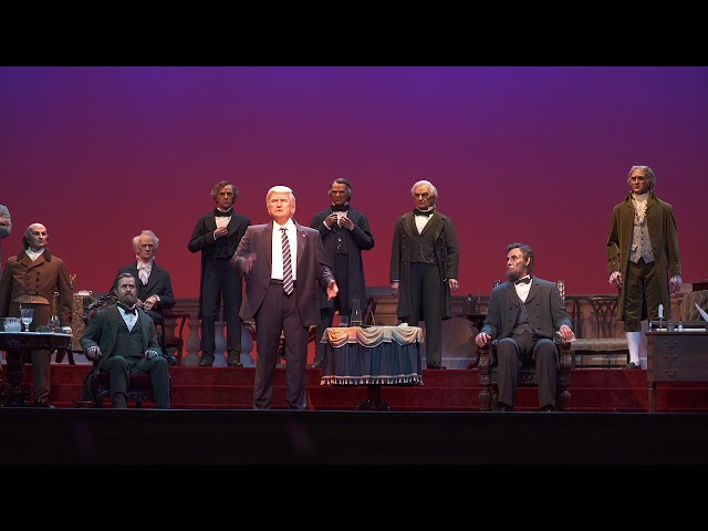 Donald Trump audio-animatronic figure at the new Hall of Presidents