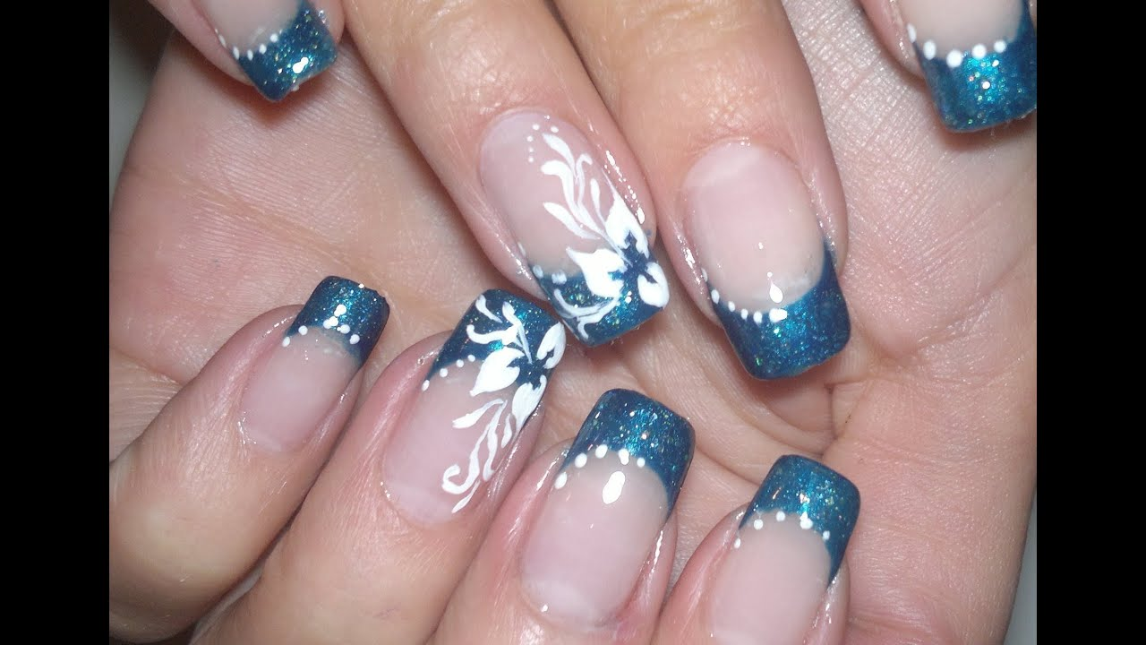 Nail Art Simple And Elegant Video Tutorial White Flower Blue French Manicure