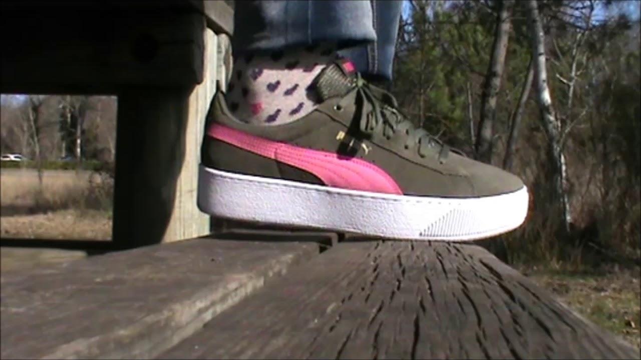 23cc1f58edcd My new olive   pink Puma Vikky platform preview - YouTube