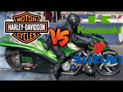 BRAND RIVALRY IGNITED! NITRO HARLEY MOTORCYCLES VS TURBO HAYABUSA AND KZ DRAG BIKES FROM SOCAL!