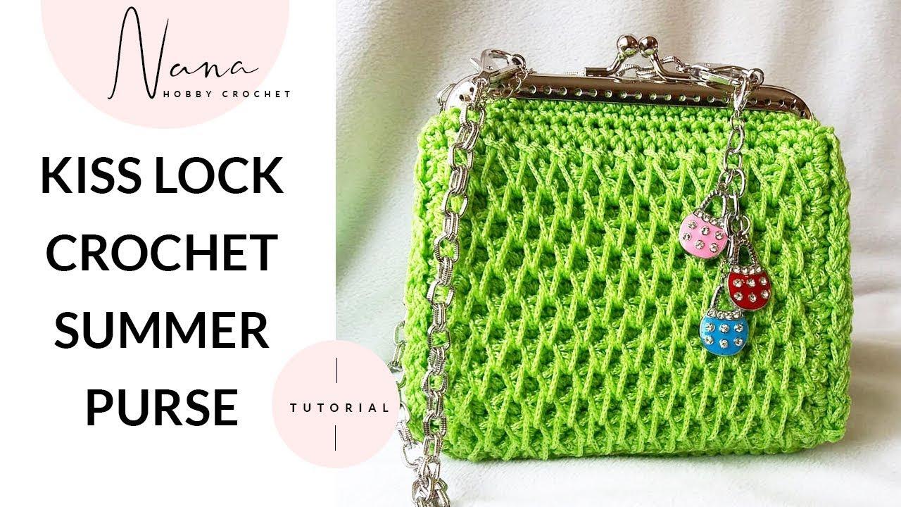 Crochet green coin purse lime green metal frame purse kiss lock crochet purse.
