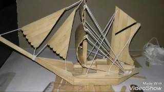 membuat miniatur perahu layar dari stik es