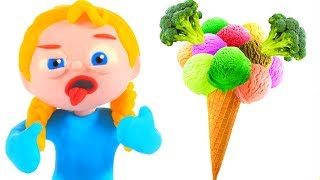 DO YOU LIKE BROCOLI WITH ICE CREAM ❤ PLAY DOH CARTOONS FOR KIDS