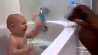 Hilarious Laughing Baby In Tub Teasing Wiener Dog (dachaund)