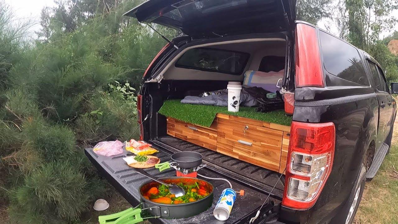 Cắm Trại Bên Bờ Biển Nấu Ăn Trên Xe ô tô Nhà Di Động Trên xe Lâm ca - CAR Camping vietnamese