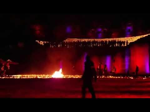 Lyon Fête des lumières Light Festival Théâtre gallo-romain Feu début(Roman theater Fire outbreak)