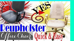 DIY: HOW TO REUPHOLSTER A CHAIR: Office Chair Makeover: No SEW & NO MEASURING