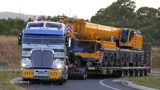 Repeat youtube video Membreys Kenworth K200 and unloading Liebherr LTM 1350