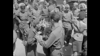 Meeting U.S. 4th Armored Division with Russia troops by Písek (Czechoslovakia) - May, 1945