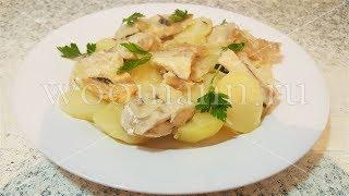 Рыба   запеченная в духовке с картофелем и луком  очень вкусное блюдо