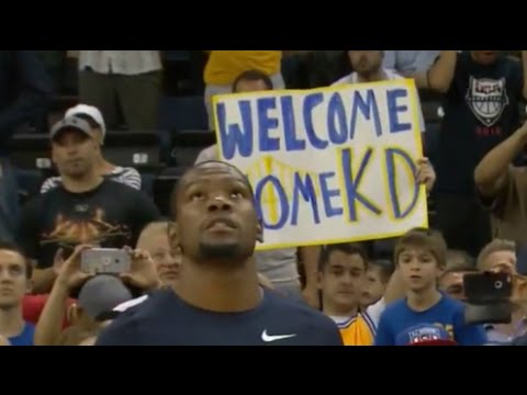 Kevin Durant's first game in Oakland as a Golden State Warrior - USA vs China (first 2 minutes)