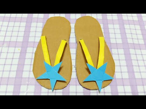 DIY Kids Star Shoes : How to make Paper  Slippers , Shoes from Cardboard , Shoes Easy and Beautiful