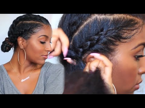 how to cornrow braid with double buns naturalneiicey