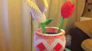 3d Origami Vase With Flowers Tulip Lily