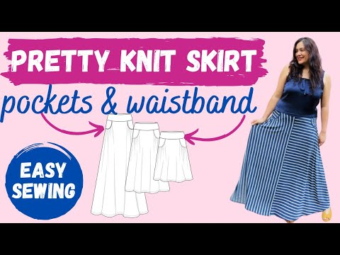 Sewing easy KNIT pockets & curved waistband. Ravinia Skirt (Love Notions). Stripy maxi! from YouTube · Duration:  23 minutes 38 seconds