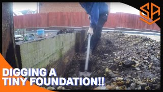 CONSTRUCTING SMALLEST WALL ON YOU TUBE ??..PART 1...DIGGING FOUNDATION AND MIXING CONCRETE